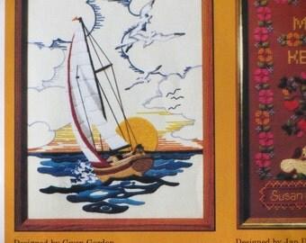 Sunset Sailing Creative Circle Crewel Embroidery Kit #0324 Gwen Gordon Stitchery Arts and Crafts
