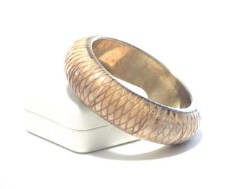 Bone and Brass Bangle Bracelet Carved Bohemian Jewelry Geometric Design