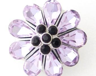 1 PC 18MM Purple Flower Rhinestone Silver Candy Snap Charm kb8139 CC0877