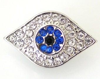 1 PC 18MM Blue Eye Rhinestone Silver Candy Snap Charm kb6466 CC1303