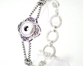 """1 Silver Bracelet - 7"""" Fits 12MM Candy Snap Charm KB0542 CJ0261"""