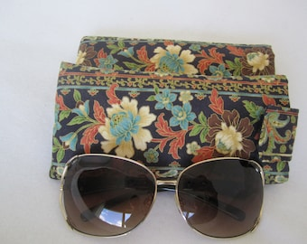 NEW! Sunglass / eyeglass cases elegant floral pattern on dark navy padded lined RTS