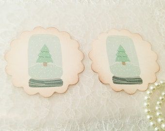 Holiday Stickers-Christmas Tree Sticker-Snowglobe Image-Christmas Card Seals-Set of 12