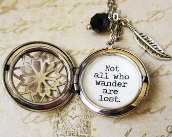 Not all who wander are lost locket necklace for women with Tolkien quote travel adventure inspirational quote gift for women wanderlust