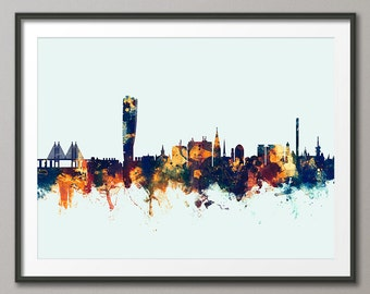 Malmo Skyline, Malmo Sweden Cityscape Art Print (2375)