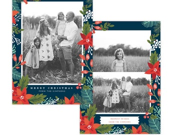 INSTANT DOWNLOAD - Christmas Holiday Card Photoshop template - e1359