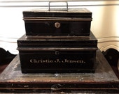 2 Antique Cash Boxes, Tin Boxes, Strong Box Black Gold and Red Details
