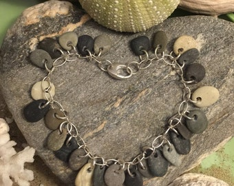 Sea glass jewelry- 27 pieces of beach stone on a sterling silver bracelet