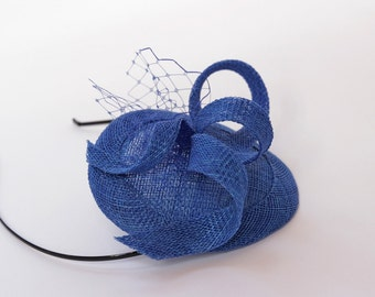 Bridesmaids Sinamay Fascinator  Electric Blue Top Hat Cocktail Hat Weddings