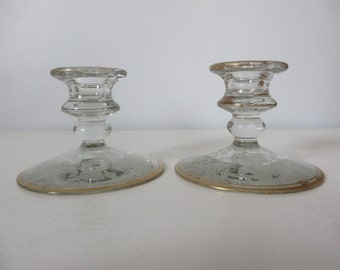 Etched Glass Floral Candle Holders