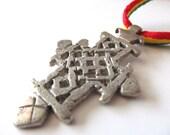 Ethiopian Cross Necklace - Red Gold and Green Rasta Jewelry - Coptic Cross Pendant - Ethiopian Necklace - Rastafari Accessories
