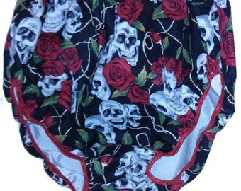Adult Baby ABDL Waterproof Nappy Diaper Cover Skull and Roses pants