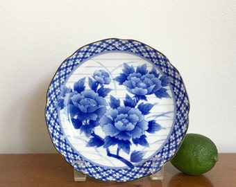 Vintage Chinoiserie Dish Small Round Blue White Porcelain Dish Chinese Asian Decor