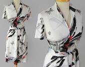 70s Shift Dress Abstract Print Butterflies Novelty Print Black White