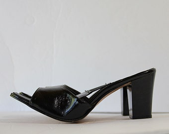 50s Patent Leather Mules Shoes Springolater Black Slides
