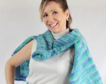 ON SALE 60s Sweater / Mod / Mohair / Blue Aqua Green / Office Fashion / School Girl