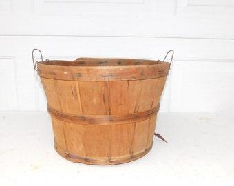 Vintage Split Wood Bushel Basket With Wire Handles Apple Baskets Primitive #1-6