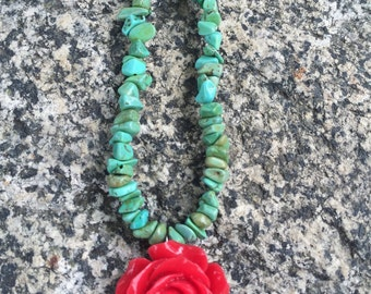 Red Resin Rose andTurquoise Green necklace