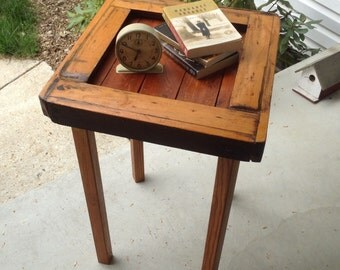 Vintage Hand Made Side Table End Table Plant Stand Primitive Nightstand with Screw off Legs
