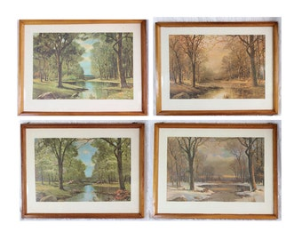 Four Seasons Antique Framed Prints- Set of Four- Large vintage prints with wooden frames- Wall Hanging- Cabin, Cottage Decor- Scenery
