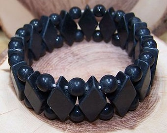 Black Stone stretch bracelet - One size fits most - Genuine natural stone -Gifts for her - Gifts for him