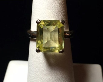 14k Gold Lemon Quartz Emerald Cut Ring