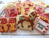 Circus Birthday Cookies, Circus Party, Carnival Party Favors, Popcorn Cookies, Carousel Horse Cookies, Ticket Cookies, Circus Letter Cookies