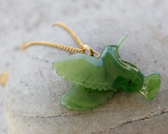 ON SALE Jade Hummingbird Necklace - Nephrite Jade - Gold -Sterling Silver