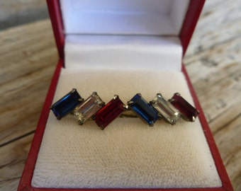 Patriotic Vintage Red, White, and Blue Screw Back Earrings