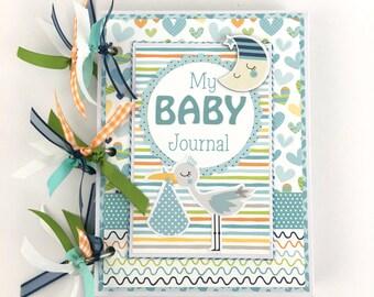 Baby Boy Scrapbook Journal Mini Album Kit or Premade Newborn Gift