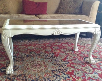 Petite White Shabby French Victorian Rectangle Coffee Table