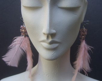Exotic Pink Feather Crytsal Pierced Earrings