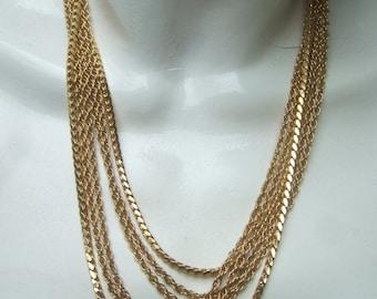 TRIFARI Sleek Gilt Metal Chain Necklace c 1970