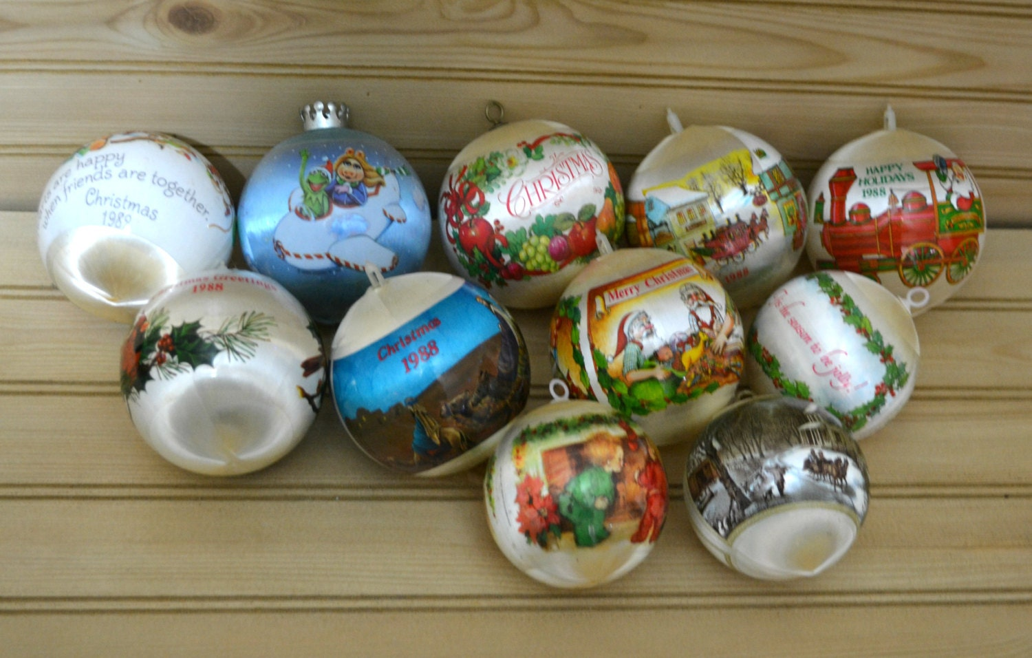 Vintage Satin Christmas Ornaments Unbreakable 1980s Mix Lot Of