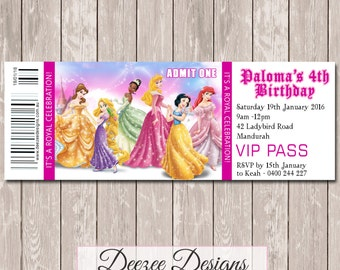 Disney Princess Personalised Ticket Style Birthday Invitation - YOU PRINT