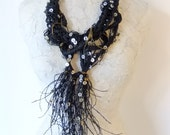 Black Paper, Vintage Mother of Pearls & Brass Wire Avant-garde Necklace