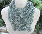 Green Paper & Cotton Thread Crochet Scarf Necklace