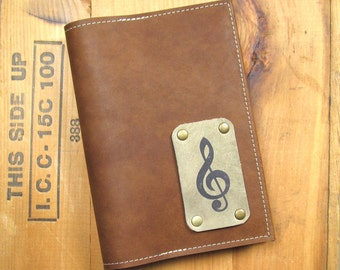 "5 ""X 7"" Refillable Leather Journal-Music"
