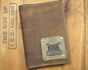 "5 ""X 7"" Refillable Leather Journal-Typewriter"