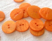 5 Medium or Large Orange Buttons, Flat Wafer Style, Two Hole Buttons,Bright Orange, Streaky Shiny, Dill Brand, Made in Germany