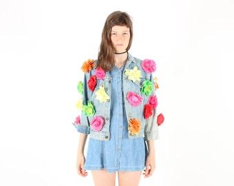3D FLOWER JACKET 80s Lightwash Denim Jacket w/ Rainbow Fake Flowers All Over