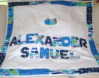 Personalized Quilt with applique design