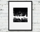 Abstract Square Printable. Black & White Watercolor Square Print Abstract Geometric. Minimalist Art Home Office Decor. DIY Digital Print
