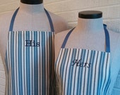 Couples Apron Set, Blue & Navy Dashed Stripe - FREE SHIPPING - Husband and Wife, Made USA