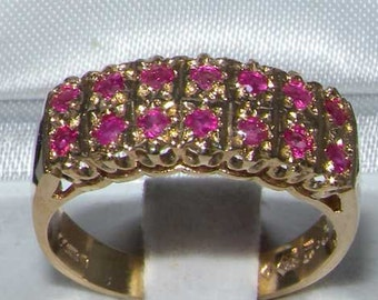 English 9K Yellow Gold Natural Ruby Engagement Ring, Classic 14 Stones Double Row Half Eternity Ring - Customizable