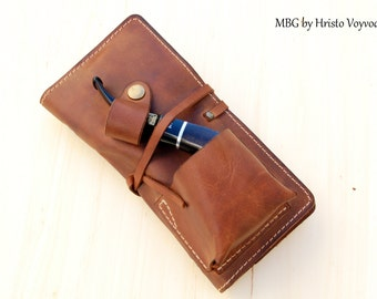Personalized Leather Pipe & Tobacco Pouch -Pipe Roll - Leather Pipe Bag - Leather Pipe Case - hand made