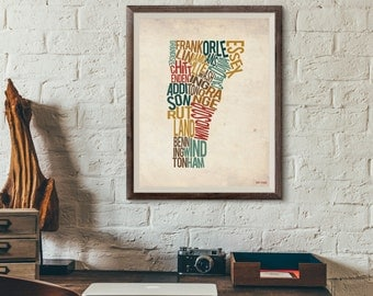 Vermont by County - Typography Print