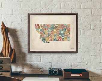 Montana by County - Typography Print