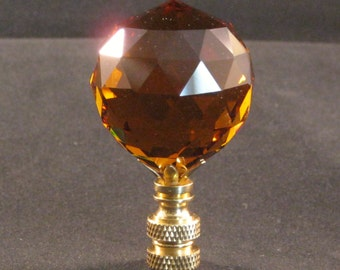 Lamp Finial-Stunning Leaded Crystal Lamp Finial**DARK AMBER**Brass Base
