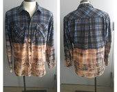 Upcycled Clothing, Dip Dyed Royal Blue, Grey and Black Plaid Shirt, Bleach Dyed, Grunge Shirt, Reclaimed Button-up Shirt, Men's XL #050